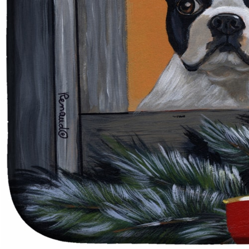 Boston Terrier Looking for Santa Christmas Dish Drying Mat Perspective: bottom