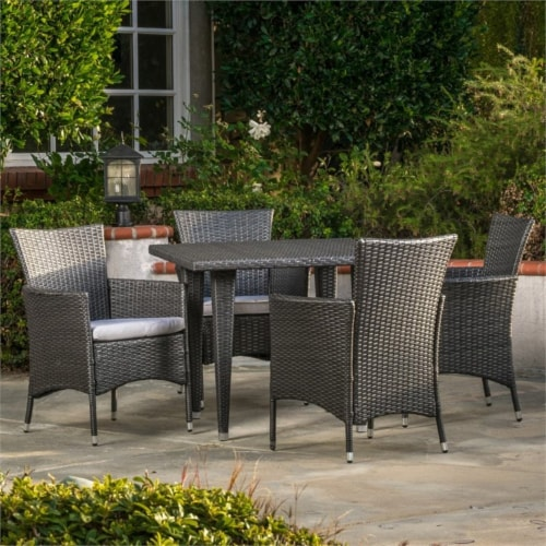 Noble House Malta 5 Piece Outdoor Dining Set in Gray Perspective: bottom