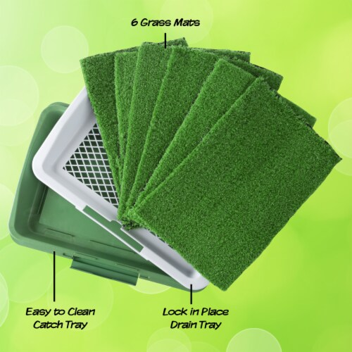 Puppy Potty Trainer- Artificial Grass Mat, Tray & 5 Extra Replacement Turf Pads Perspective: bottom