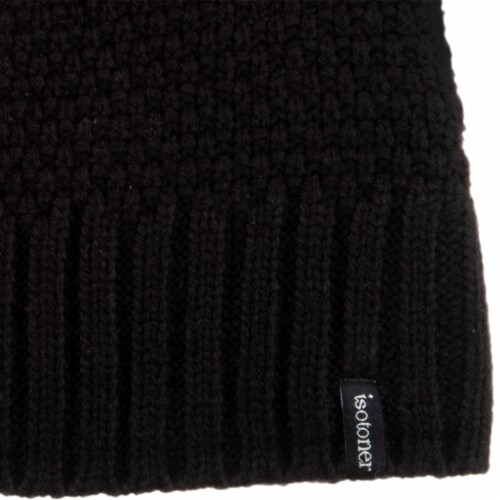 Isotoner® Women's Lined Water Repellent Textured Knit Beanie - Black Perspective: bottom