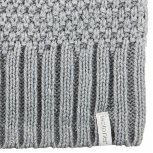 Isotoner® Women's Lined Water Repellent Textured Knit Beanie - Grey Perspective: bottom