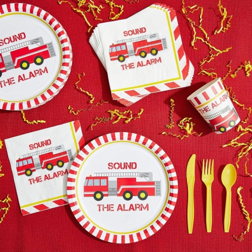 Fire Truck Birthday Party Dinnerware Set, Sound The Alarm (144 Pieces, Serves 24) Perspective: bottom