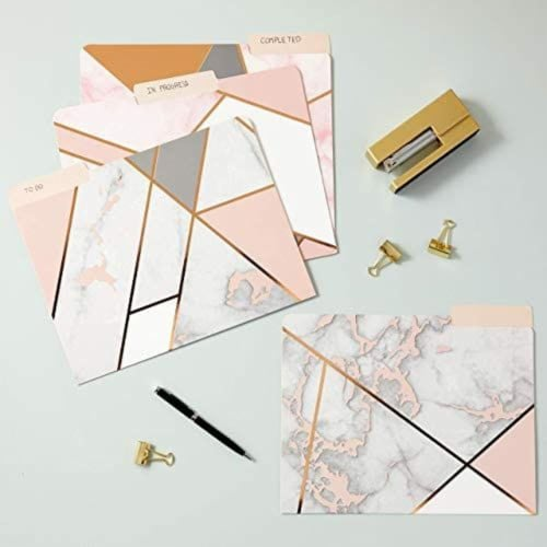 Geometric Marble File Folders, Rose Gold Office Supplies (Letter Size, 12 Pack) Perspective: bottom