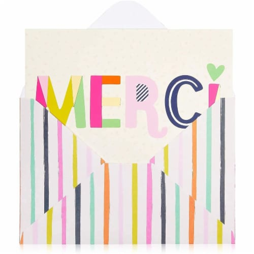 Blank Merci Thank You Cards with Striped Envelopes (6 x 4 Inches, 24 Pack) Perspective: bottom