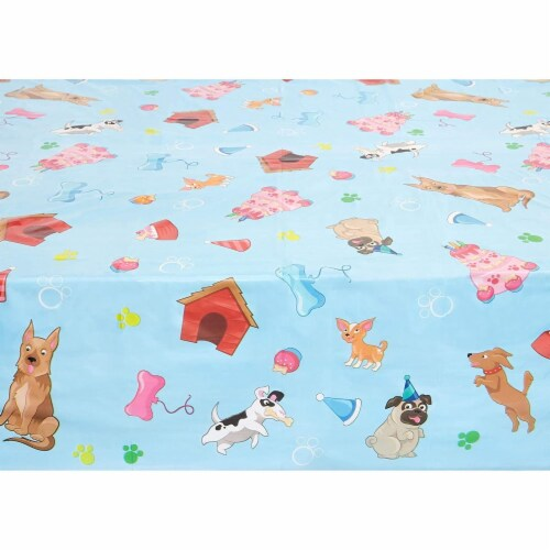 Blue Panda Puppy Dog Themed Party Table Covers (54 x 108 in, Rectangle, 3 Pack) Perspective: bottom
