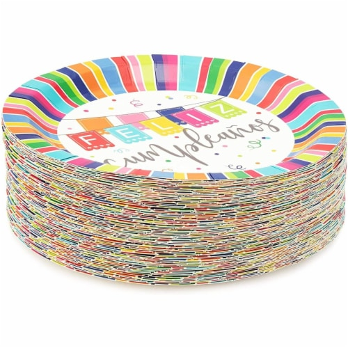 Feliz Cumpleanos Paper Plates for Birthday Party (9 In, 80 Pack) Perspective: bottom