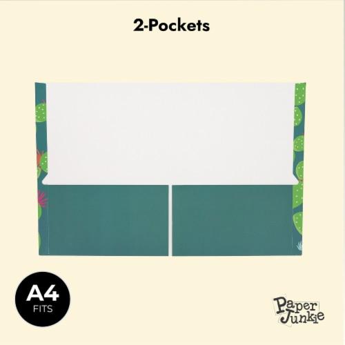 Succulent 2-Pocket Folders for School, Letter Size, 6 Cactus Designs (12 Pack) Perspective: bottom