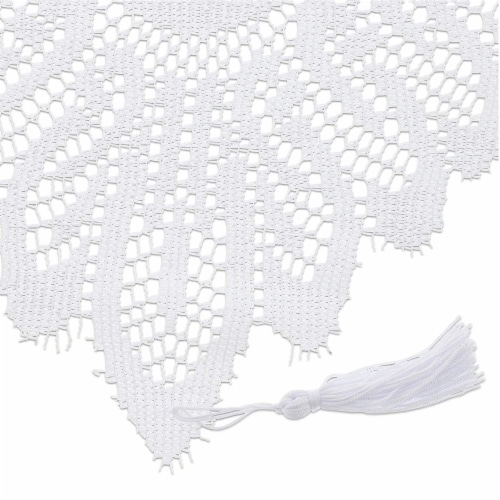 Juvale Lace Table Cloth Runner for Dinners and Parties (13 x 72 in, White) Perspective: bottom