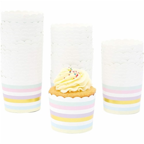 50-Pack Muffin Liners - Pastel and Gold Foil Striped Cupcake Wrappers Paper Baking Cups Perspective: bottom