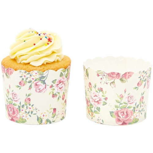 50-Pack Muffin Liners - Vintage Floral Cupcake Wrappers Paper Baking Cups Perspective: bottom