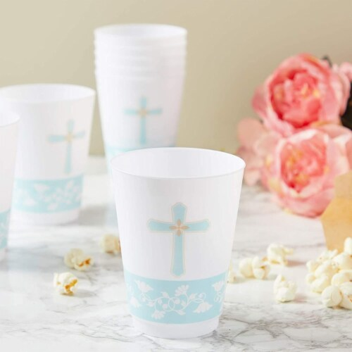 16 oz Baptism Tumbler Cups, First Communion Decorations, Party Supplies (16 Pack) Perspective: bottom