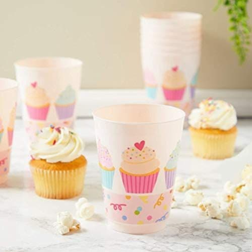 Pink Plastic Tumbler Cups, Cupcake Party Decorations (16 oz, 16 Pack) Perspective: bottom