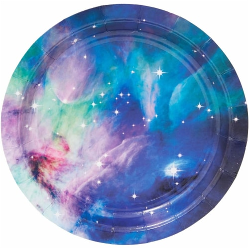 Galaxy Paper Plates for Outer Space Party (7 In, 80 Pack) Perspective: bottom