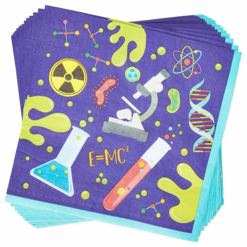 Science Lab Party Pack, Paper Plates, Cutlery, Cups, and Napkins (Serves 24, 168 Pieces) Perspective: bottom