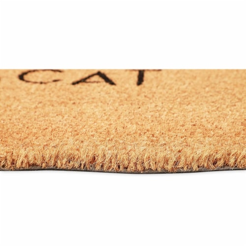 Beware of The Cat Welcome Mat for Front Door, Natural Coir Doormat (30 x 17 in) Perspective: bottom