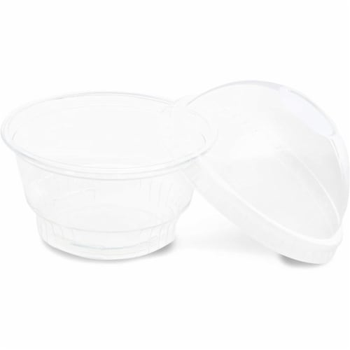 Clear Plastic Ice Cream and Yogurt Cups with Dome Lids (5 oz, 50 Pack) Perspective: bottom