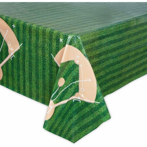 Baseball Tablecloth Birthday Party Plastic Table Cover (54 x 108 in, 3 Pack) Perspective: bottom
