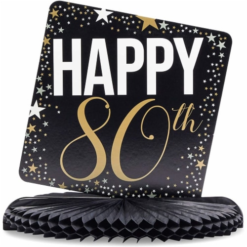 80th Birthday Party Honeycomb Centerpiece Decoration (12 x 11 In, 6 Pack) Perspective: bottom