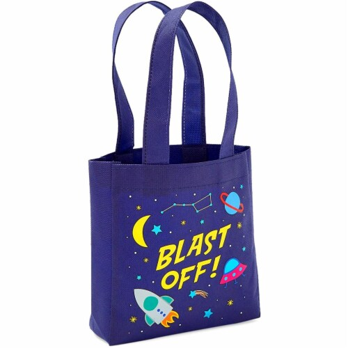 Outer Space Party Favor Tote Bags, Blast Off (6.5 x 7 x 1.77 In, 24 Pack) Perspective: bottom