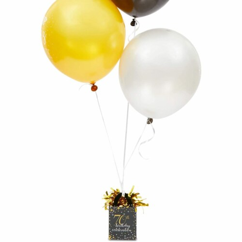 70th Birthday Party Balloon Weights, Black and Gold Decorations (6 oz, 6 Pack) Perspective: bottom