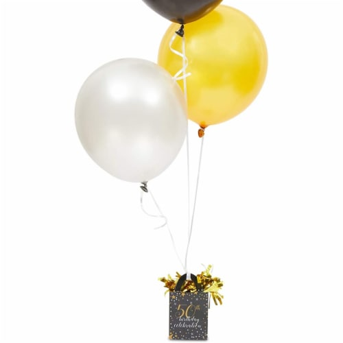 50th Birthday Party Balloon Weights, Black and Gold Decorations (6 oz, 6 Pack) Perspective: bottom