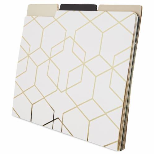 Decorative File Folders, 1/3 Cut Tab, Letter Size, Gold Foil Geometric (12 Pack) Perspective: bottom