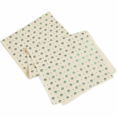 Ivory Dining Table Runner and Placemats, Set of 6, Green Foil (7 Pieces) Perspective: bottom