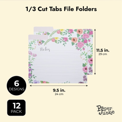Decorative File Folders, 1/3 Cut Tab, Letter Size, Floral Notes Section (12 Pack) Perspective: bottom