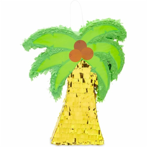 Tropical Palm Tree Luau Piñata for Summer Birthday Party (16.5 x 13 In) Perspective: bottom