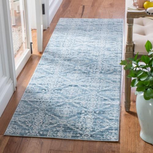 Safavieh Martha Stewart Isabella Floor Runner Rug - Denim Blue/Ivory Perspective: bottom