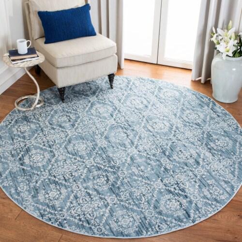 Safavieh Martha Stewart Isabella Round Rug - Denim Blue/Ivory Perspective: bottom