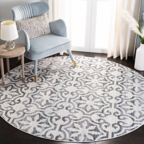 Safavieh Martha Stewart Isabella Round Rug - Gray/Ivory Perspective: bottom