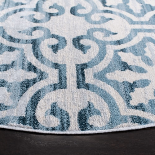 Martha Stewart Collection Isabella Round Rug - Navy/Ivory Perspective: bottom