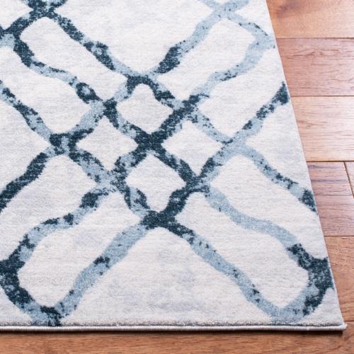 Martha Stewart Isabella Square Rug - Ivory/Turquoise Perspective: bottom
