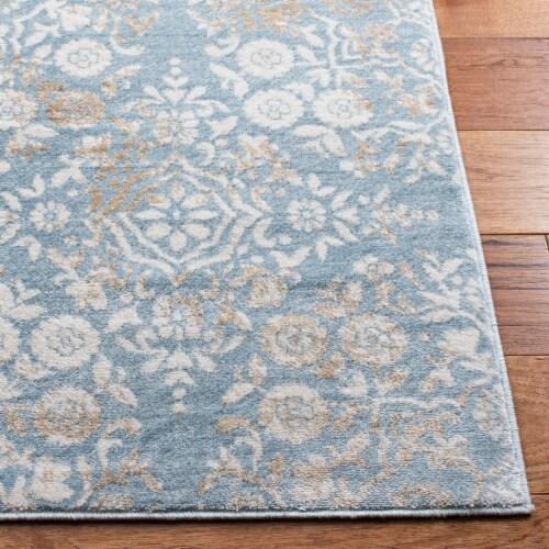 Martha Stewart Isabella Square Rug - Denim Blue/Ivory Perspective: bottom