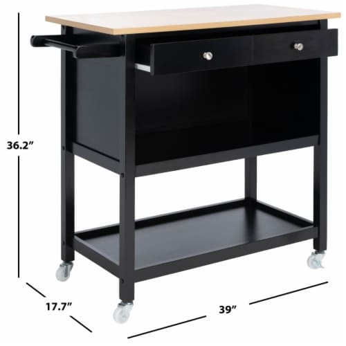 Daley 2 Drawer 3 Shelf Kitchen Cart Black Perspective: bottom