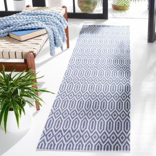 Martha Stewart Cotton Floor Runner Rug - Blue/Gray Perspective: bottom