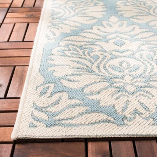 Martha Stewart Beach House Indoor / Outdoor Area Rug - Aqua / Cream Perspective: bottom