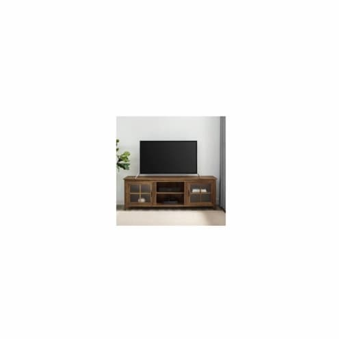 Home Square 2 Piece Set with Wood TV Stand and X Bookcase in Rustic Oak Perspective: bottom