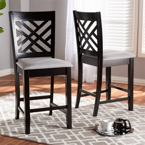 Bowery Hill 25 H Upholstered Wood Bar Stool in Gray and Brown (Set of 2) Perspective: bottom