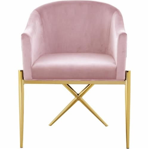 Home Square 2 Piece Velvet Dining Chair Set with Gold Metal Base in Pink Perspective: bottom