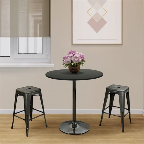Pemberly Row Round Modern Wood Dining Table in Black Perspective: bottom