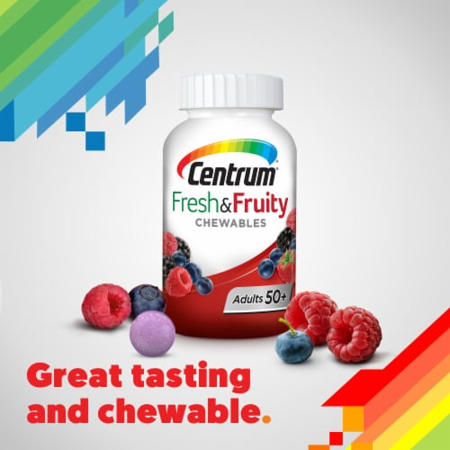 Centrum Adults 50+ Fresh & Fruity Mixed Berry Chewable Tablets Perspective: bottom