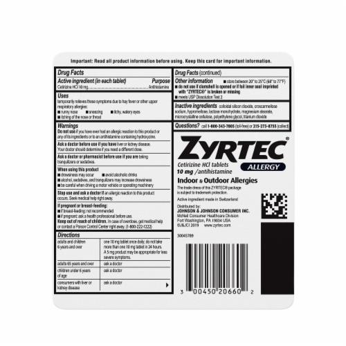 Zyrtec Indoor & Outdoor Allergy Relief Tablets 10mg Perspective: bottom