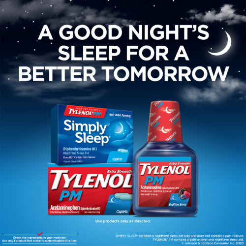 Tylenol PM Extra Strength Pain Reliever & Sleep Aid Caplets Perspective: bottom