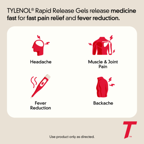 Tylenol Extra Strength Pain Reliever & Fever Reducer Rapid Release 500mg Gelcaps Perspective: bottom