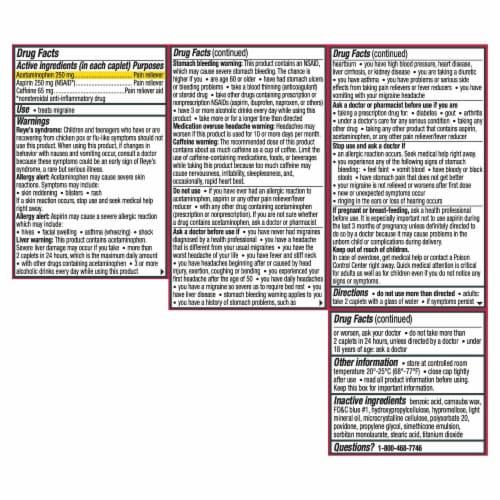 Excedrin Migraine Pain Reliever Caplets Perspective: bottom