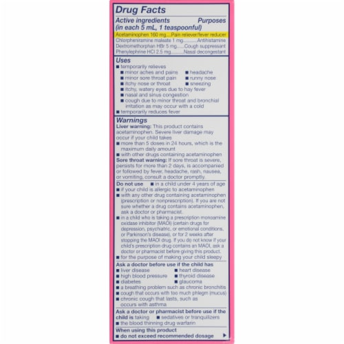 Triaminic Children's Grape Flavored Multi-Symptom Fever & Cold Liquid Medicine Perspective: bottom