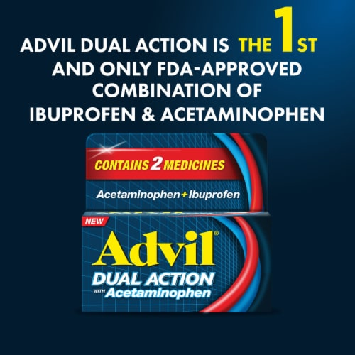 Advil Dual Action Acetaminophen & Ibuprofen Pain Relieving Caplets Perspective: bottom