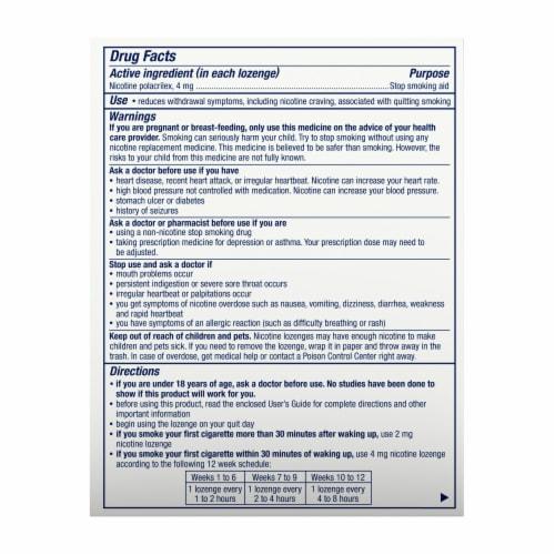 Nicorette Smoking Cessation Mint Flavor Mini Lozenges 4mg Perspective: bottom